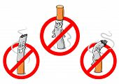 image of anti-cancer  - Cartoon cigarettes with red no smoking signs for public prohibitory warnings and healthcare design - JPG