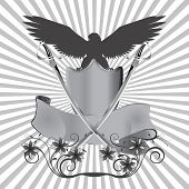 stock photo of swords  - vector illustration background eagle on shield with swords and flowers - JPG