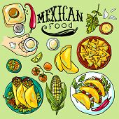 stock photo of mexican food  - beautiful hand drawn set of mexican food illustration - JPG
