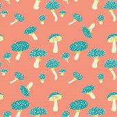 picture of agar  - Fly agaric mushrooms seamless pattern - JPG