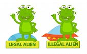 image of alien  - Humorous cartoon of legal alien and illegal alien - JPG