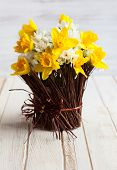picture of daffodils  - Daffodils in a twig vase on the wooden table - JPG