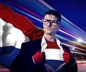 foto of patriot  - Superhero Businessman Netherlands Flag Patriotism National Flag Concept - JPG