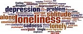 stock photo of loneliness  - Loneliness word cloud concept - JPG