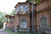 stock photo of manor  - Old wooden abandoned buildind Manor Gromov Petrogradskaya side St - JPG