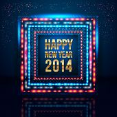 stock photo of happy new year 2014  - Happy New Year 2014 poster with frame made of lights - JPG