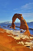 foto of turret arch  - Delicate Arch at sunset in Arches National Park Utah in winter - JPG