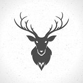 pic of deer head  - Deer head silhouette isolated on white background vintage vector design element illustration  - JPG
