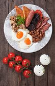 stock photo of kidney beans  - Full english breakfast with fried eggs - JPG