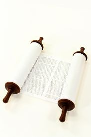 image of torah  - a Torah scroll in front of white background - JPG