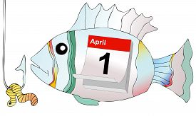 stock photo of prank  - April 1 humorous illustration representing the day of pranks and false news - JPG