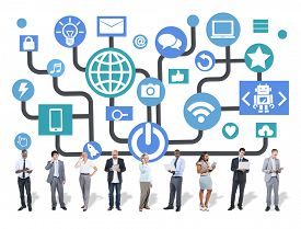 stock photo of social system  - Global Communications Social Networking Digital Device Online Concept - JPG