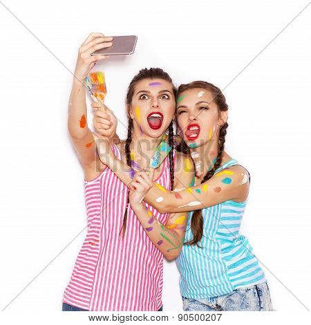 Pretty Girl Friends Having Fun. Women Smeared In Paint