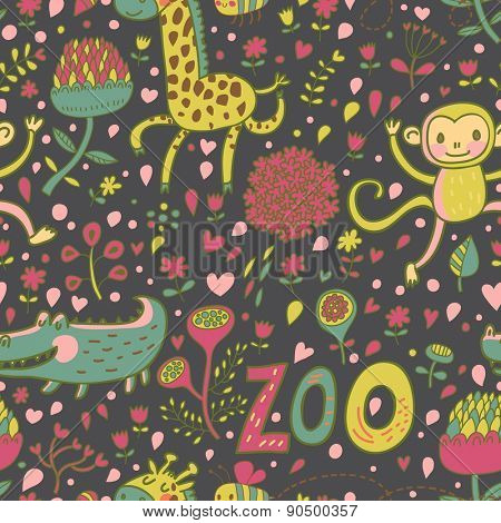 Sweet animals: crocodile, monkey, giraffe in flowers. Childish cartoon seamless pattern in vector. Ideal for childish designs. Lovely zoo texture
