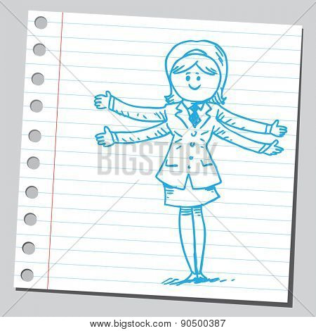 Businesswoman with four arms