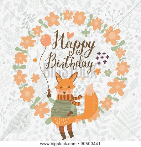 Sweet happy birthday card with lovely fox with air balloon in spring floral wreath. Cute cartoon fox in vector with holiday text in vector. Childish card in bright colors