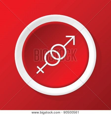 Gender symbols icon on red