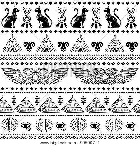 Tribal ethnic seamless pattern with Egypt symbols