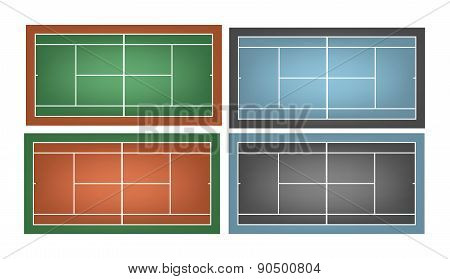 Set Of Combinated Tennis Courts