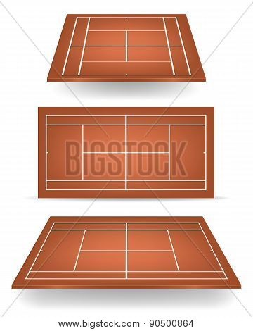 Set Of Brown Tennis Courts With Perspective