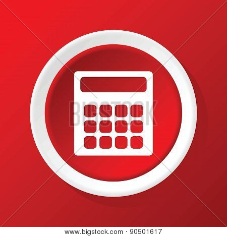 Calculator icon on red