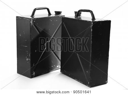 Metal jerrycans isolated on white