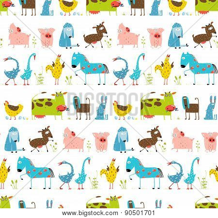 Bright Fun Cartoon Farm Domestic Animals Seamless Background