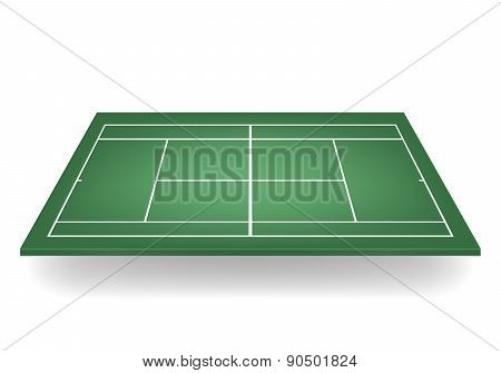 Vector 3D Green Tennis Court