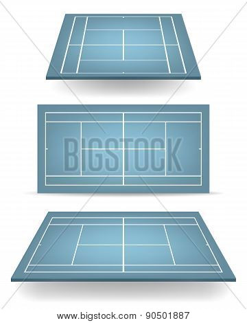 Set Of Blue Tennis Courts With Perspective