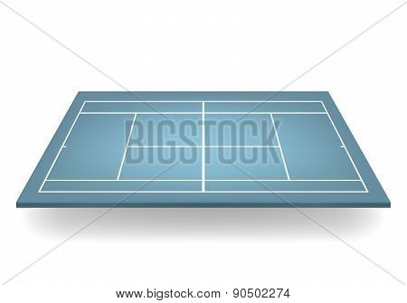 Vector 3D Blue Tennis Court