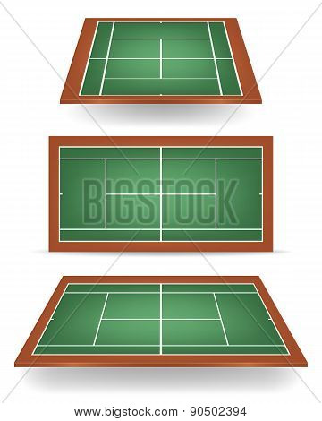 Set Of Combinated Tennis Courts With Perspective