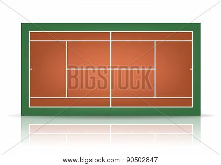 Vector Combinated Tennis Court With Reflection
