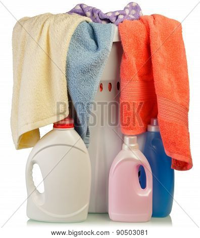 Detergent and towels in baske