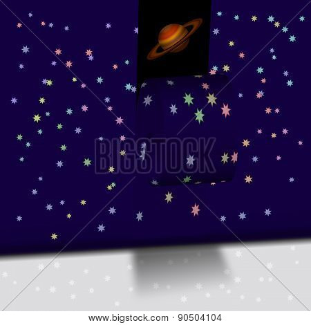Wall With Stars And The Planet