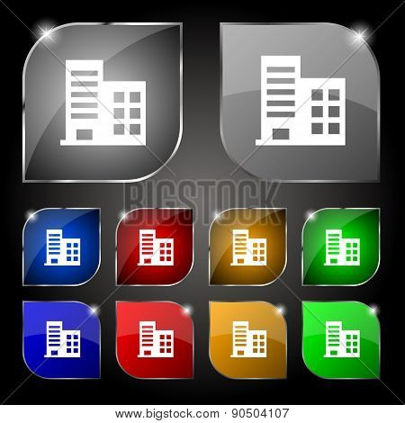 High-rise Commercial Buildings And Residential Apartments Icon Sign. Set Of Ten Colorful Buttons Wit