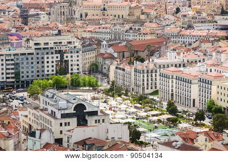 Aerial View Of Martin Moniz Square In  Lisbon From Senhora Do Monte Viewpoint (miradouro)  In Portug