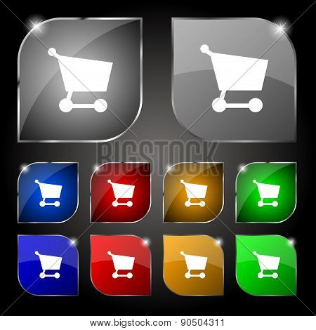 Shopping Basket Icon Sign. Set Of Ten Colorful Buttons With Glare. Vector