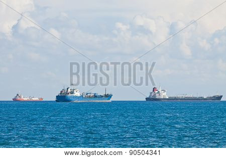 Ships In Mediterranean Sea Near Cyprus