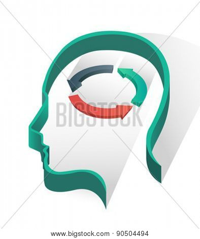 Head with arrow circle on white background