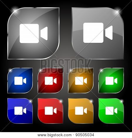 Video Camera Icon Sign. Set Of Ten Colorful Buttons With Glare. Vector