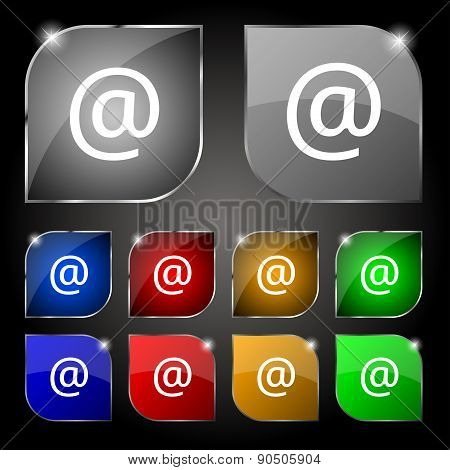 E-mail Icon Sign. Set Of Ten Colorful Buttons With Glare. Vector