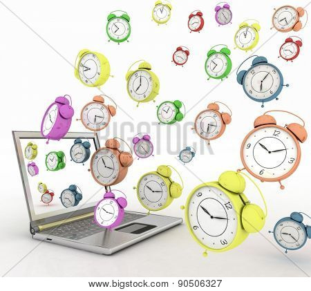 Laptop and clock, taking off from his screen. 3d illustration on white background