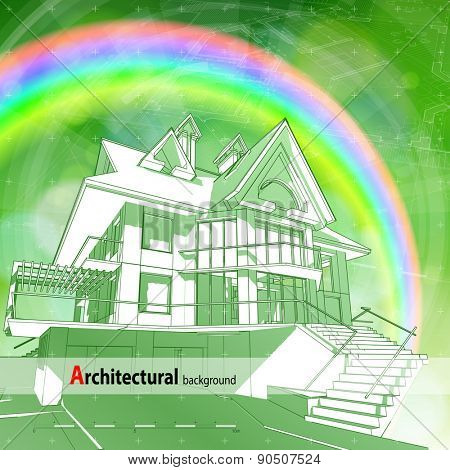 Architecture ecology design: blueprint 3d house, plan, radial HUD elements & green bokeh abstract light background / vector illustration / eps10