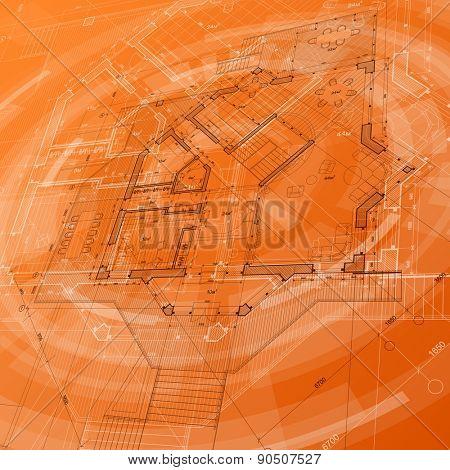 Architecture design: blueprint house plan & orange technology radial background - vector illustration