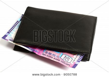 Black Wallet With Ten Hk Dollars