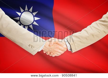 Businessmen Handshake With Flag On Background - Republic Of China - Taiwan