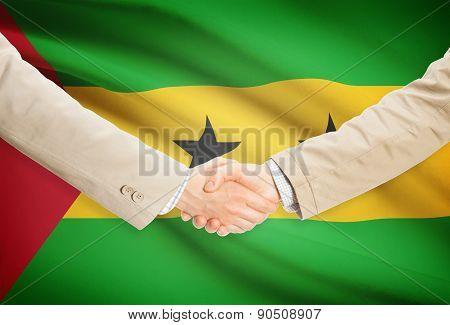 Businessmen Handshake With Flag On Background - Sao Tome And Principe