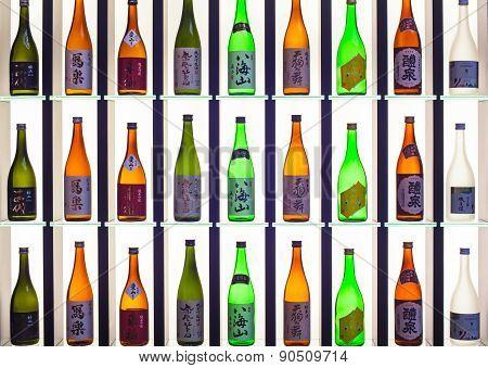 Japanese Sake Bottles Displayed