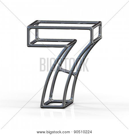 number 7 isolated on white background