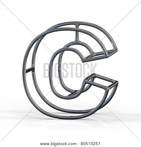 3D alphabet, metal letter C isolated on white background